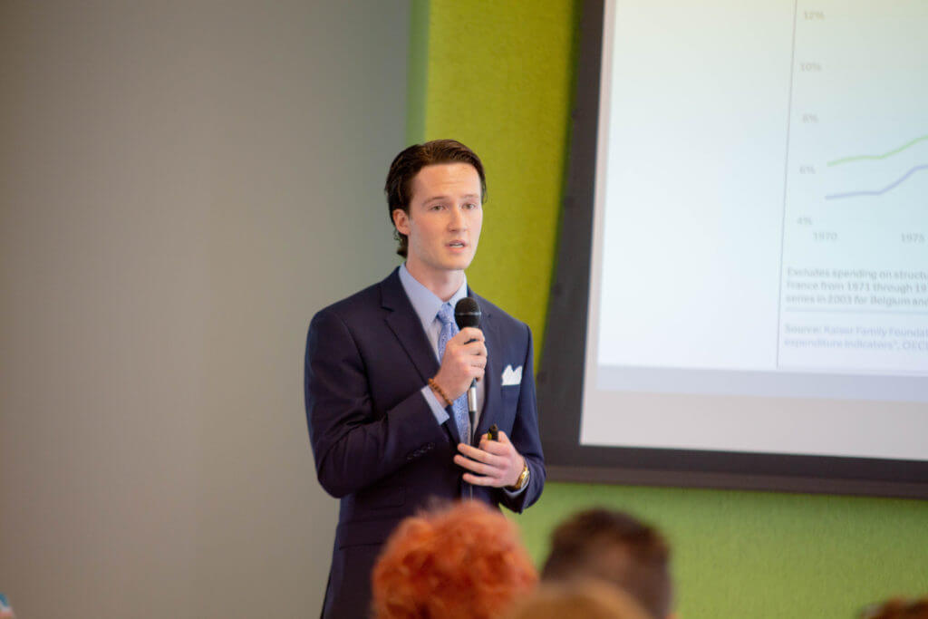True shares about his business, Full Circle Wellness to a community of supporters at the CYstarters' 2018 Demo Day event held at ISU Research Park, Core Facility on August 1, 2018.