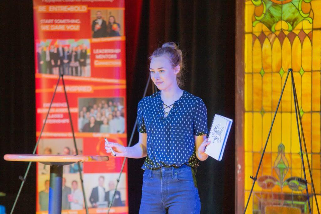 Lauren Gifford, a senior at Iowa State University studying marketing pitches her business, Flourish, at the Innovation Pitch at the Maintenance Shop on March 7, 2019. Lauren received $250 as a runner-up in the Ivy College of Business Pitch Off, and went on to win the $500 New Business Idea at the Innovation Pitch.
